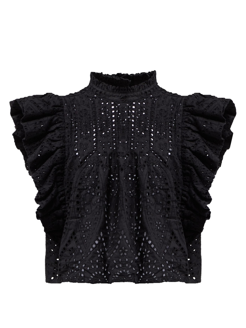 Ganni Sandrose Broderie Anglaise Top - Black Tops