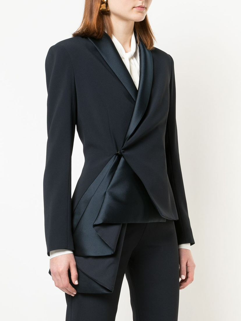 Brandon Maxwell Tailored Jacket with Asymmetric Sash Outerwear