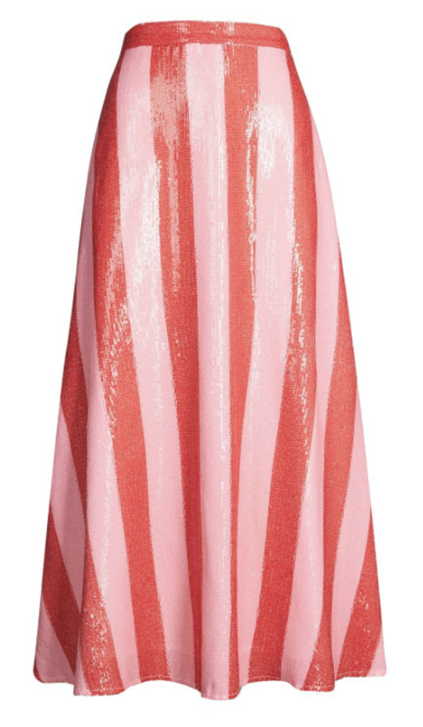 Olivia Rubin Penelope Pink and Red Striped Skirt Skirts