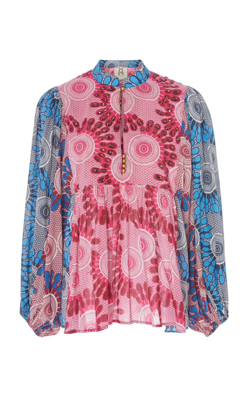 Figue Nora Embellished Top - African Moon Floral Print Tops