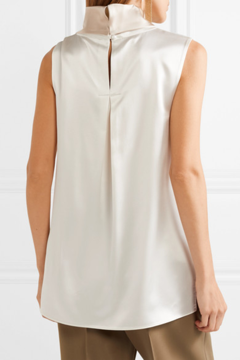 Adam Lippes Two-tone silk-charmeuse Top Tops