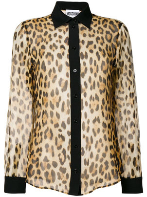 Moschino Leopard Silk Blouse Tops
