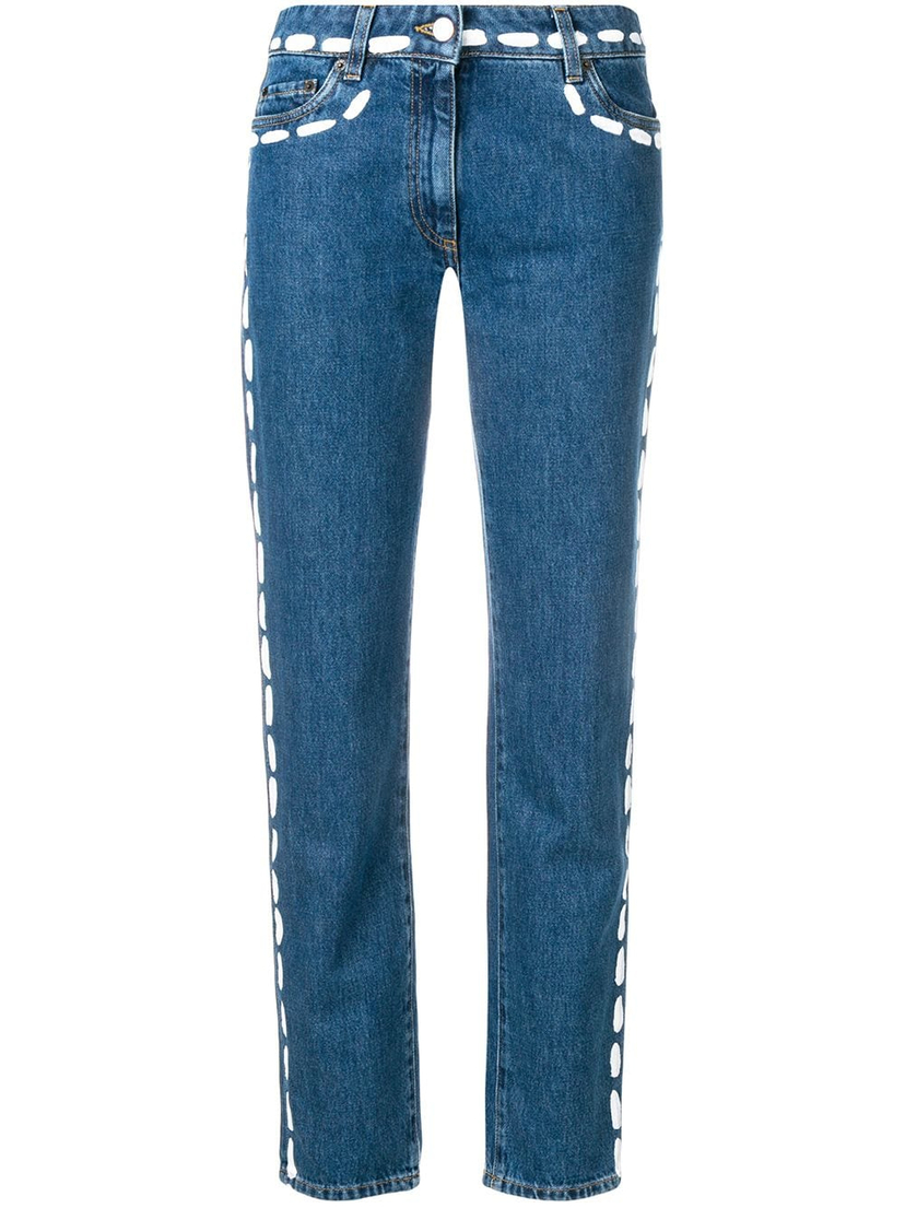 Moschino Stitching Print Denim Pants