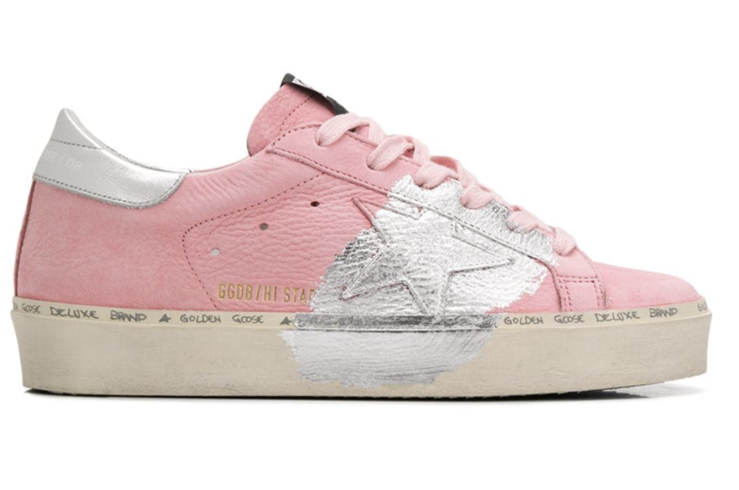 Golden Goose Deluxe Brand Pink and Silver Hi Star Sneakers Shoes