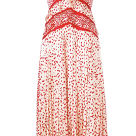 Cream and Red Dot Satin Printed Dress