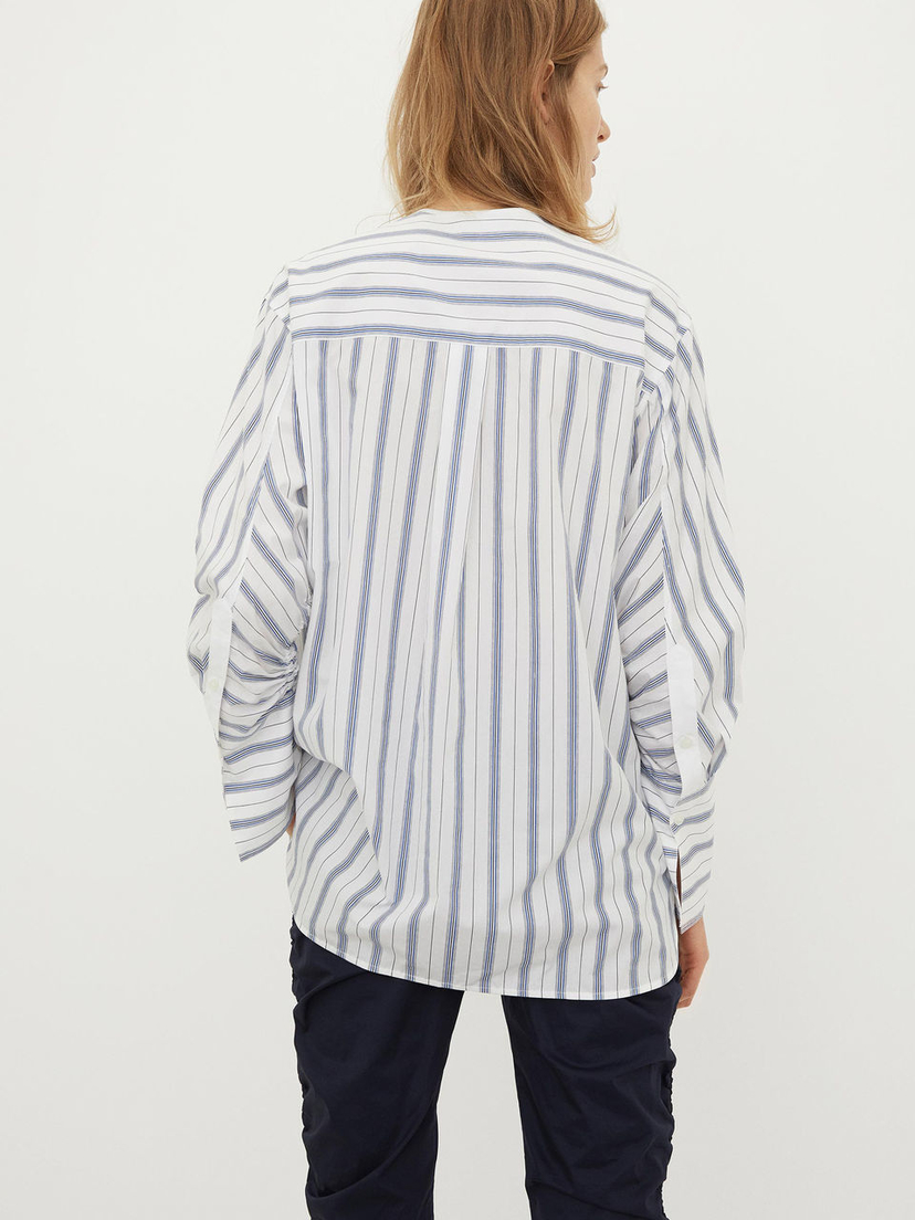 By Malene Birger Blouse with oversized cuffs and ruched sleeves Tops
