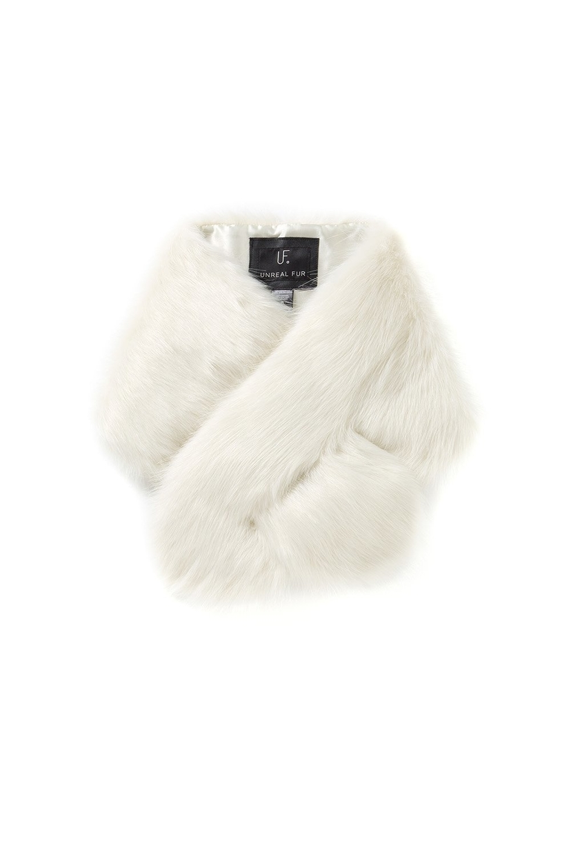 Unreal Fur Furocious Thread-Through Scarf in Ivory