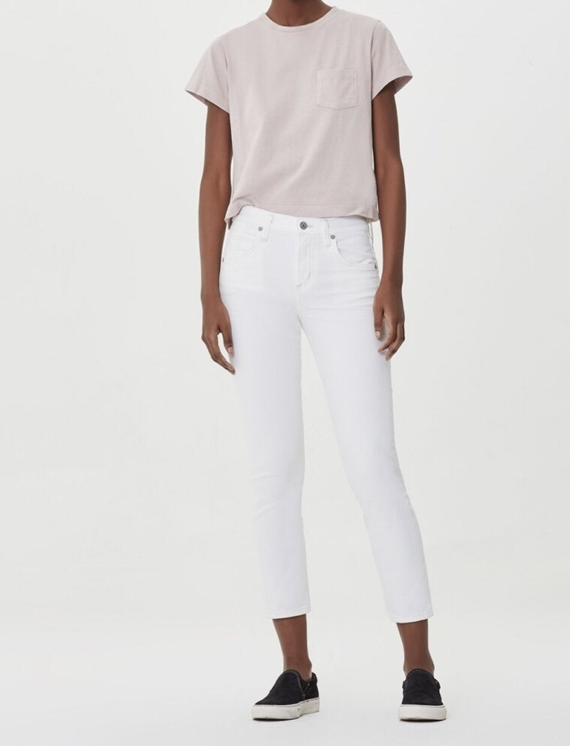 Citizens of Humanity Citizens Of Humanity Elsa Mid Rise Slim Fit Crop in Seasalt Pants