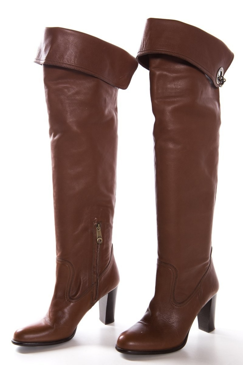 2d4891f8099 Bally Bally Brown Leather Over-The-Knee Toggle Detail Boots SZ 9 Sale Shoes