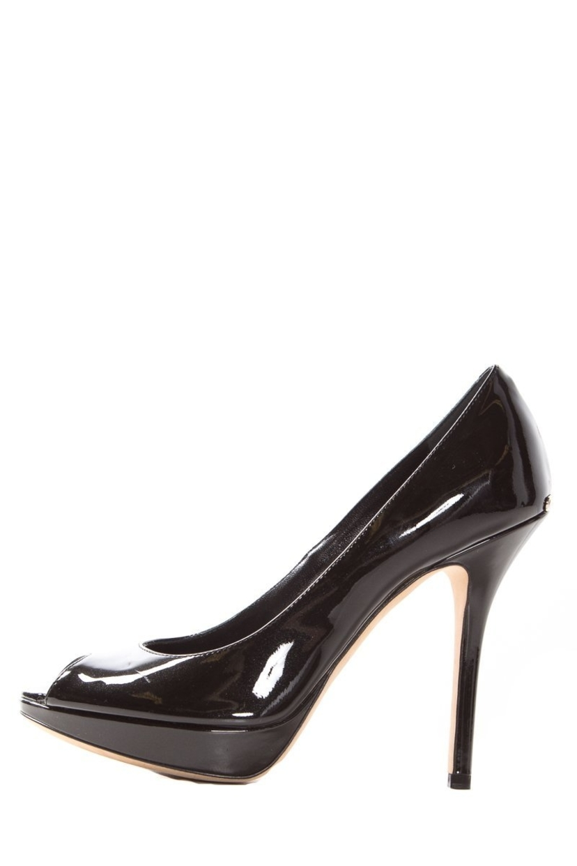 db3c563a9c80 Christian Dior Christian Dior Black Patent Leather Peep-Toe Heels SZ 37  Sale Shoes