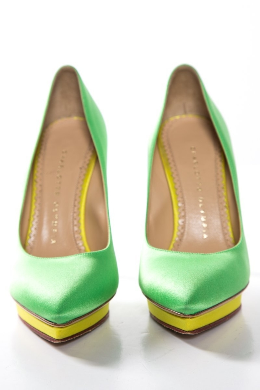 Charlotte Olympia Charlotte Olympia Green & Yellow Satin Platform Pumps SZ 36 Sale Shoes