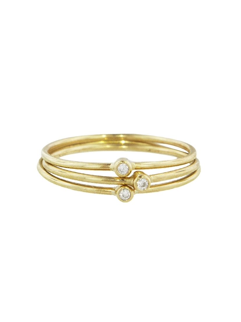 Jennifer Meyer Jennifer Meyer Triple Diamond Ring Stack - Yellow Gold Jewelry