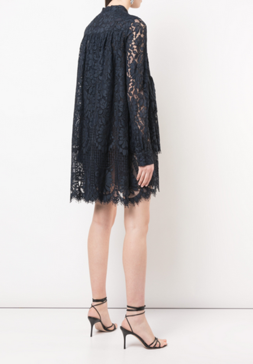 Adam Lippes CORDED LACE TIERED RUFFLE MINI DRESS Dresses