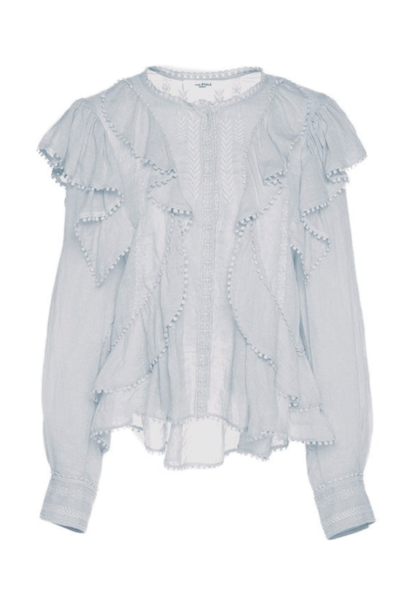 Isabel Marant Étoile Alea Lace Top - Light Blue Tops