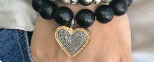 The Woods Fine Jewelry Black Faceted Bead Bracelet with Brass & Silver Heart Jewelry