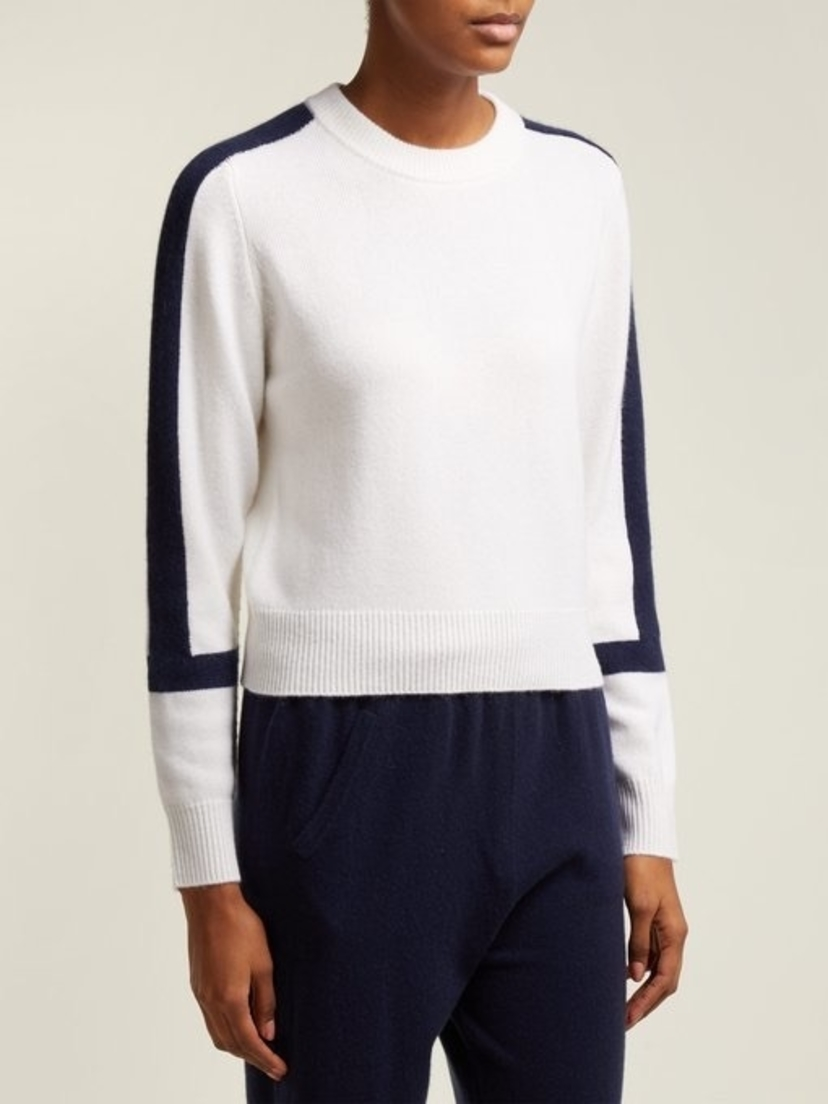 Allude Contrast-Block Cashmere Sweater Tops