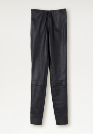 By Malene Birger Straight Leg Leather Pant - Navy Pants