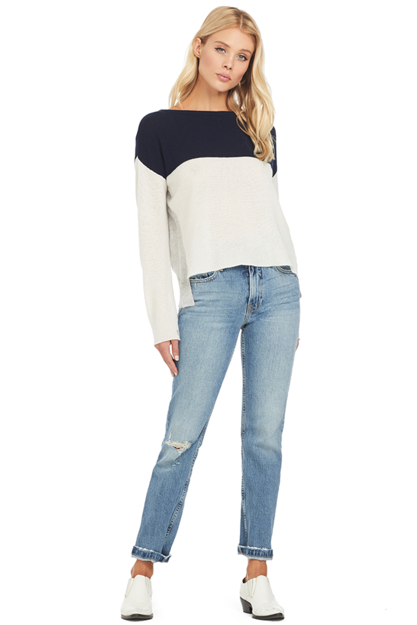 ATM L/S Color Block Cashmere Sweater (Navy/Chalk/Heather Grey) Tops