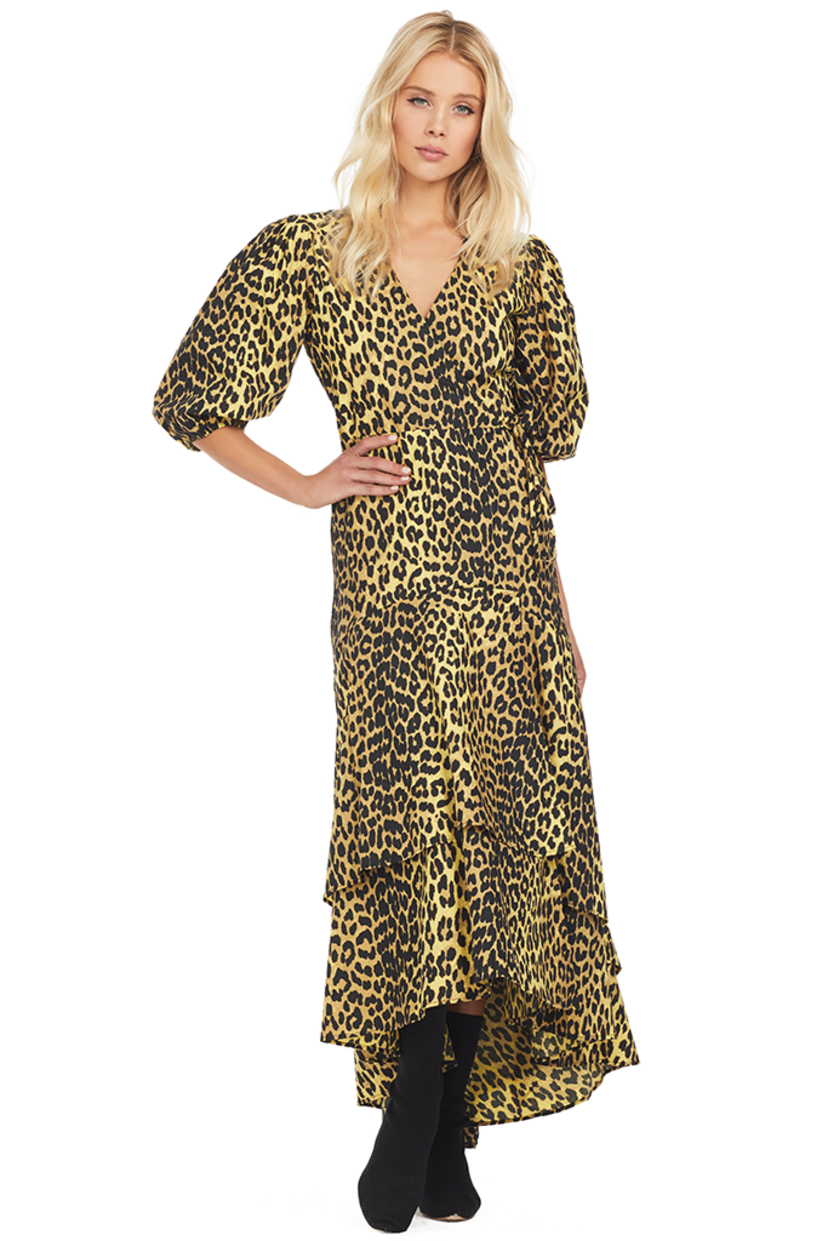 Ganni Printed Wrap Dress (Minion Yellow) Dresses