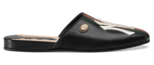 Gucci Black Leather Slides with New York Yankee Patch Shoes