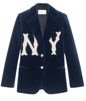 Gucci Blue Velvet Blazer with New York Yankee Logo Outerwear