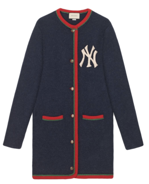 Gucci Navy Cardigan with New York Yankee Logo Outerwear