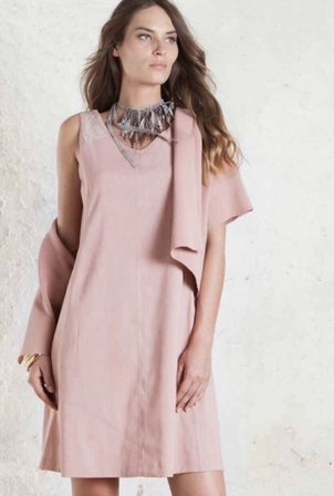 Tonet Pink Shift Dress with Short Sweater Dresses Tops