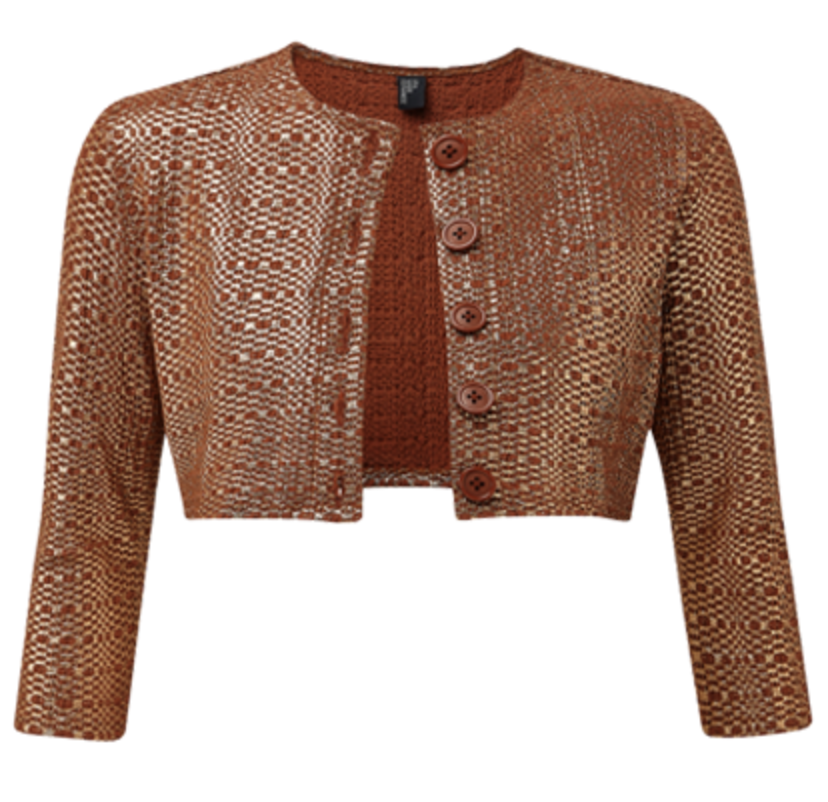 Lisa Marie Fernandez Terracotta Metallic Seersucker Cardigan Swimwear