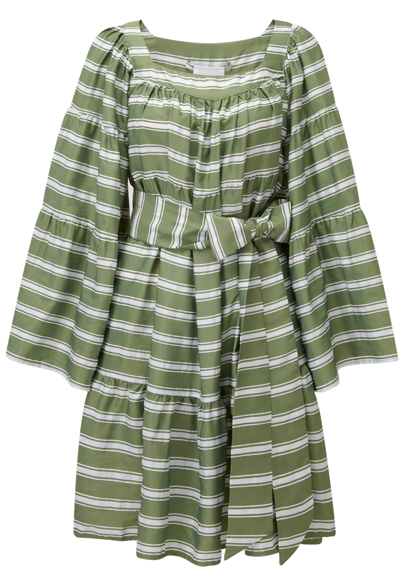 Lisa Marie Fernandez Green Striped Mini Peasant Dress Dresses Swimwear