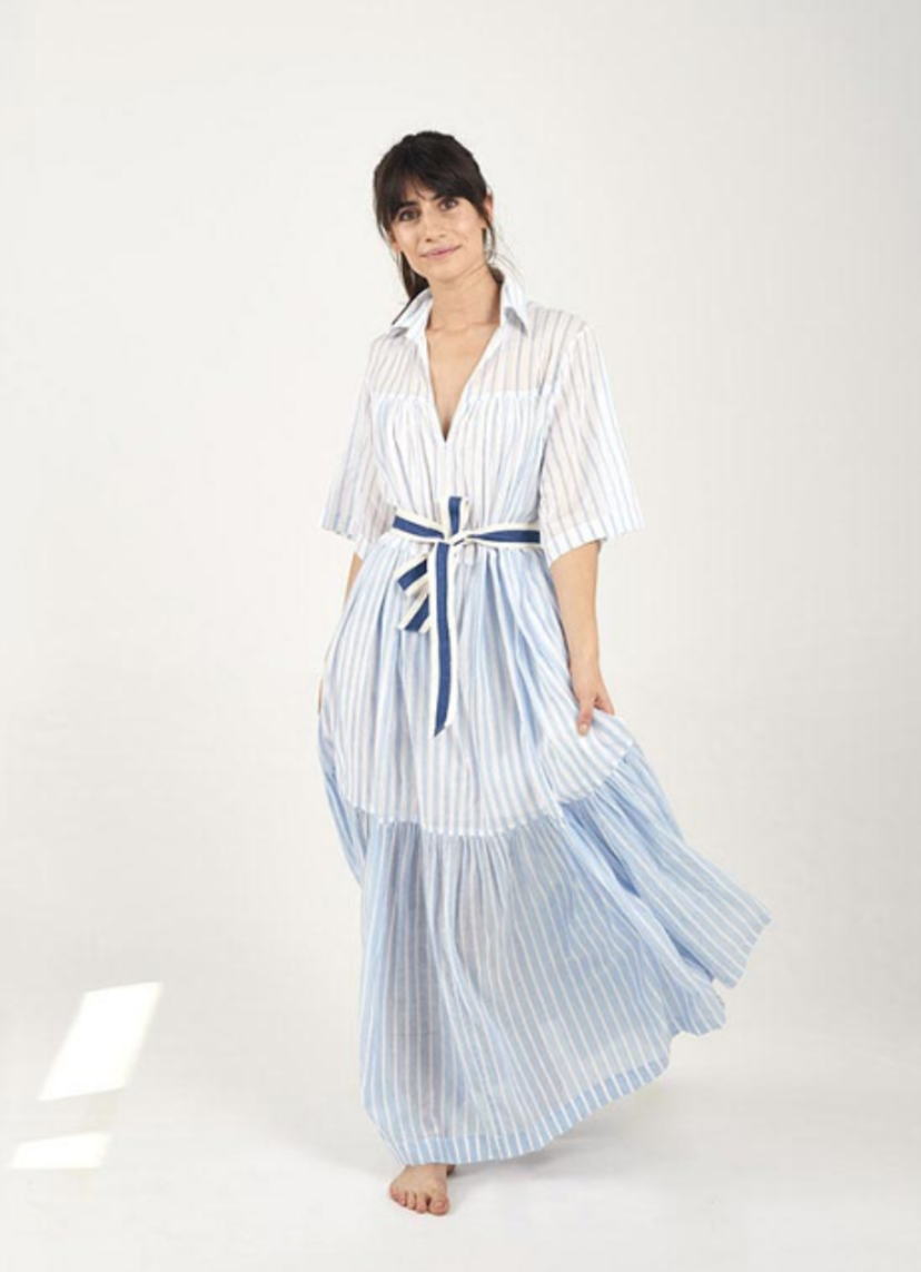 Mii Stripe Tie Waist Dress Dresses