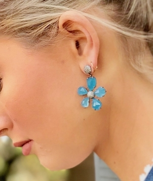 The Woods Fine Jewelry Blue Agate Flower Earrings Jewelry