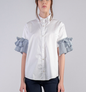 Clu USA Pleat Sleeved Button Up Shirt Tops