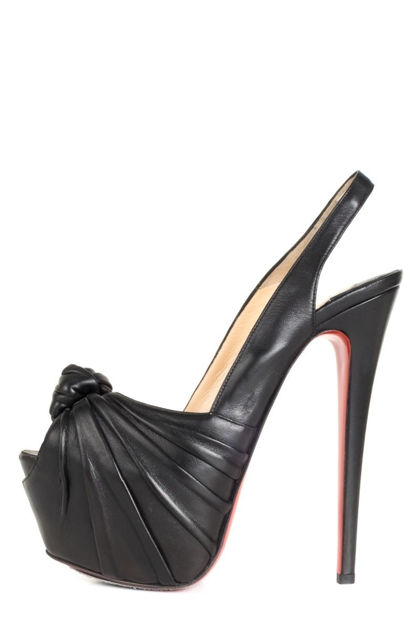 new product 3654d 8942f Christian Louboutin Black Leather Miss Benin 160 Slingback Heels | House  Account