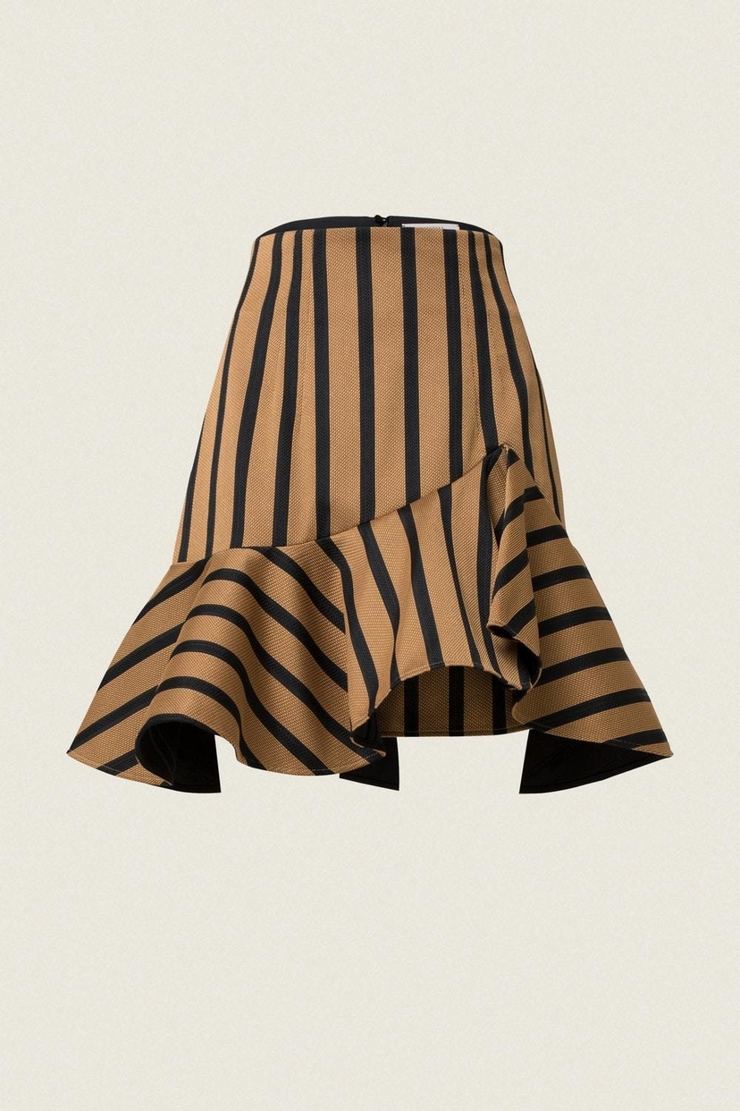 Dorothee Schumacher Structured Stripes High Waisted Volant Skirt Skirts