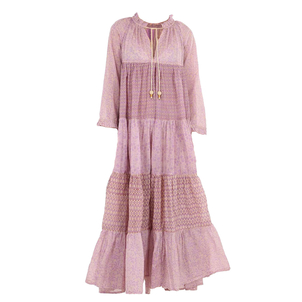 Yvonne S. Long Sleeve Mixed Maxi Dress in Mauve Dresses