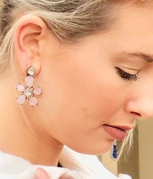 The Woods Fine Jewelry Pink Agate Flower Earrings Jewelry