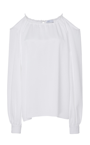 Rosetta Getty Cutout-Shoulder Crepe Top Tops