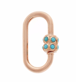 Marla Aaron Marla Aaron Gold Medium Lock with Turquoise  Jewelry