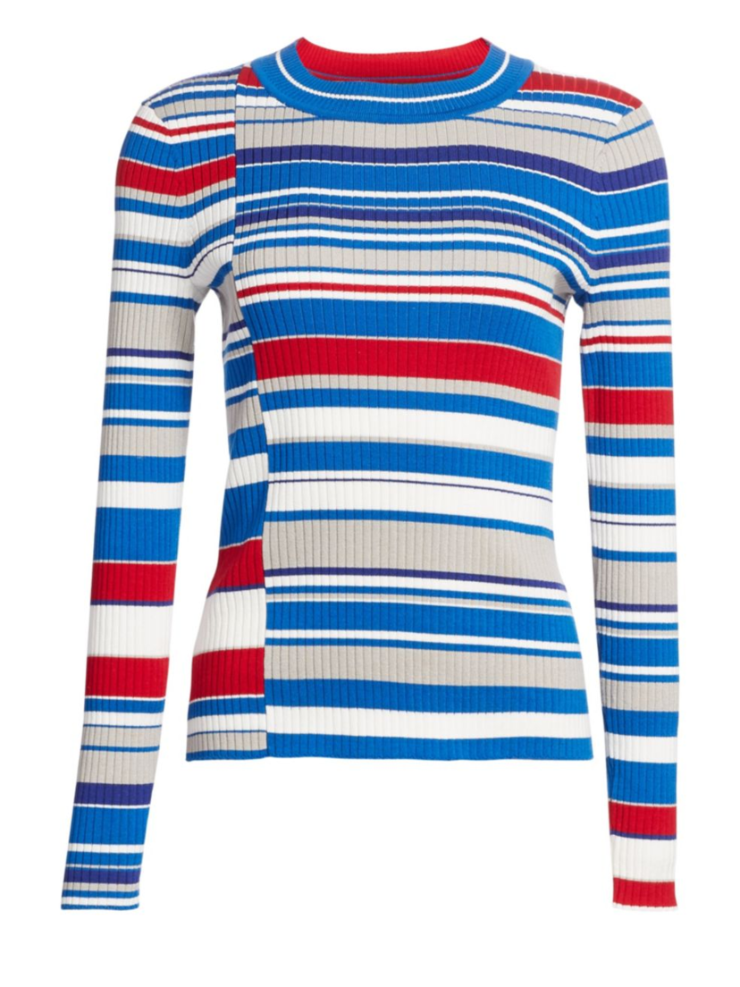 rag & bone Mason Stripe Top - Blue Tops