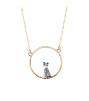 Nach Grey Cat Mini Gold Necklace Jewelry
