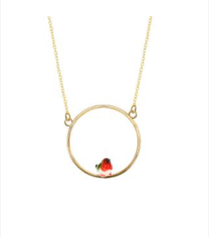 Nach Mini Robin Bird Mini Round Necklace Jewelry