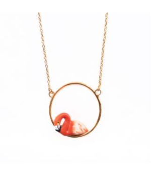 Nach Flamingo Mini Round Necklace Jewelry