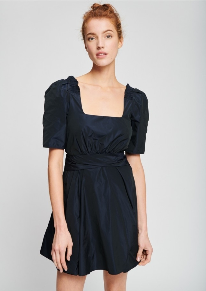 TARA JARMON Mini Dress in Midnight Blue Taffeta Dresses