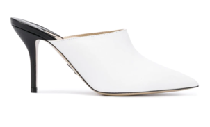 Paul Andrew Black and White Leather Mule Shoes