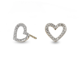 Adina Reyter Tiny Pave Open Folded Hearts Post Jewelry