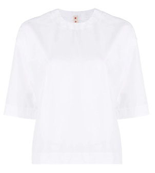 Marni White Cotton Poplin Top Tops
