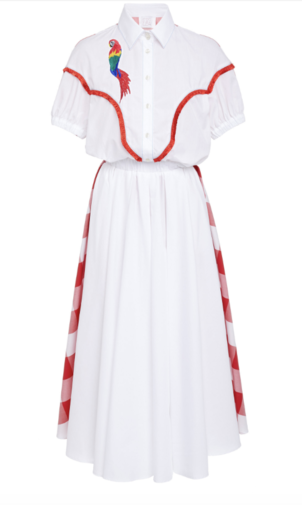 Stella Jean Embroidered Parrot Dress with Red Check Detailing Dresses