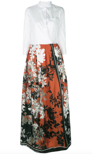 Sara Roka Contrast Floral Maxi Dress Dresses