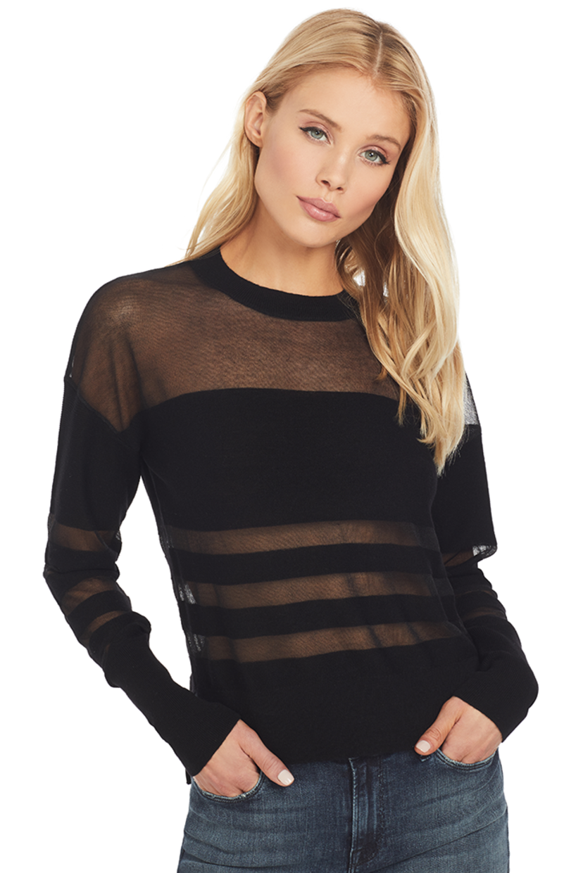 RTA Tandi Gauzy Sweater (Jet Black) Tops