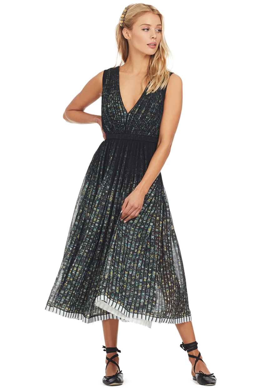 N°21 Printed Sunray Pleat Midi Dress Dresses